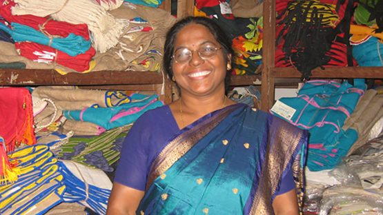 Malati Biswas in the stock room