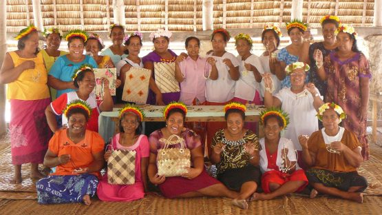 The women displaying results of a product development workshop