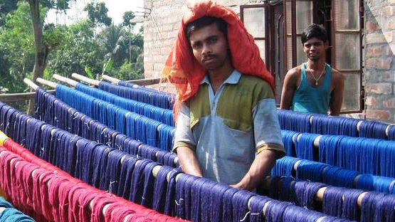Dyeing and preparing raw material for weaving