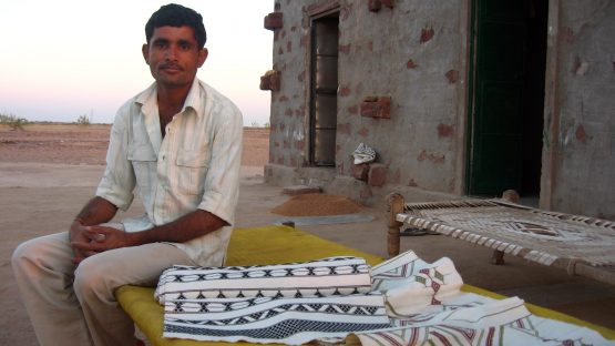 Mr Sitaram with his finished weaving