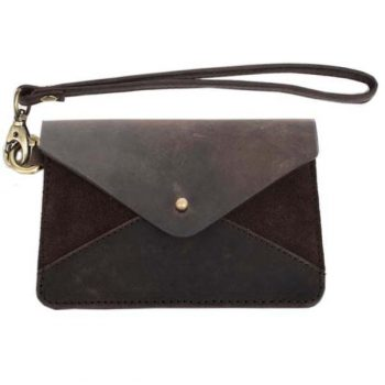 Dark brown suede and leather envelope purse with strap | TradeAid
