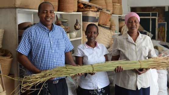 Kwanza staff with some raw materials for basketweaving