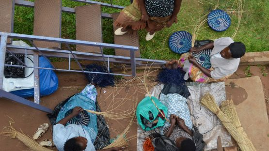 An aerial view of a basket making group