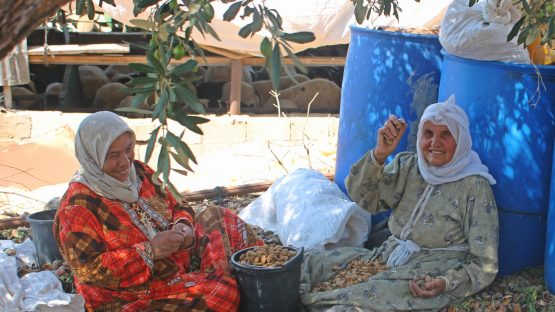 Baheyye Ghannam and her friend hand-shelling almonds