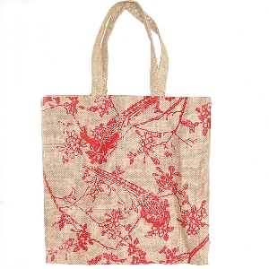 Unlined jute bag with red tree and peacock | TradeAid