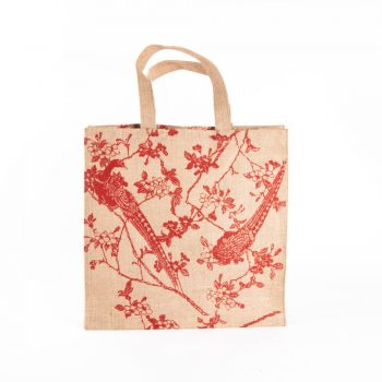 Red print lined jute bag | TradeAid
