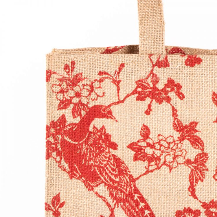 Red print lined jute bag | Gallery 2 | TradeAid