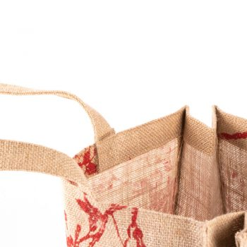 Red print lined jute bag | Gallery 1 | TradeAid