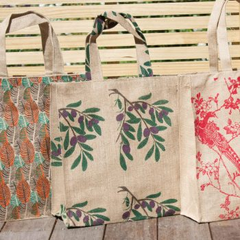 Olive branch print lined jute bag | TradeAid