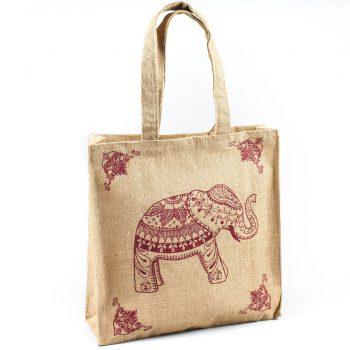 Elephant print lined jute bag | TradeAid
