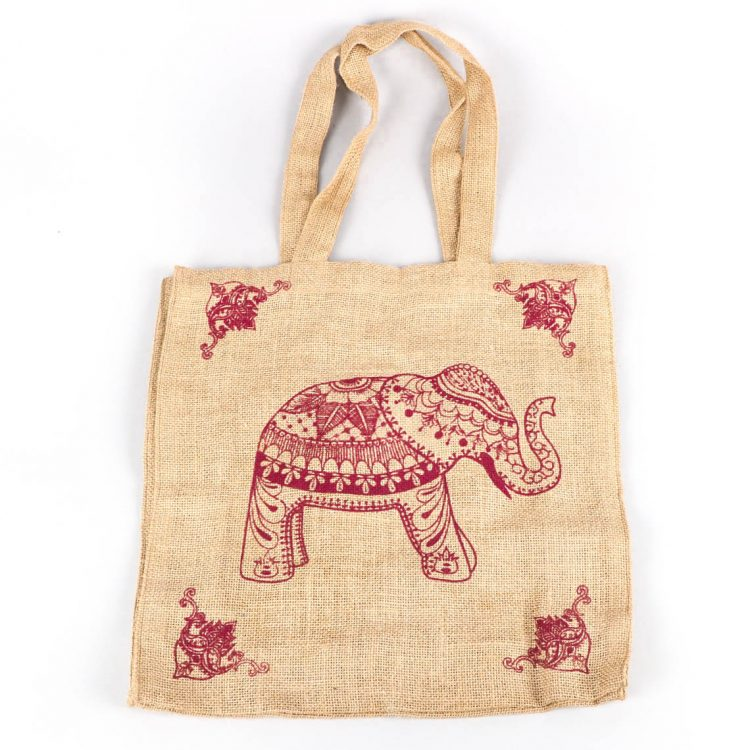 Elephant print unlined jute bag | TradeAid