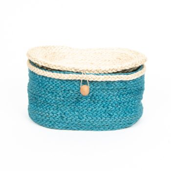 Teal oval jute box | TradeAid