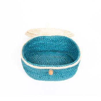 Teal oval jute box | Gallery 1 | TradeAid