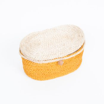 Mustard oval jute box | TradeAid