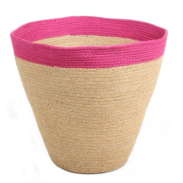 Jute basket with pink border | TradeAid