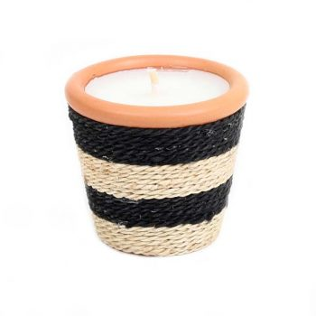 Black and white jute wrapped candle pot | TradeAid