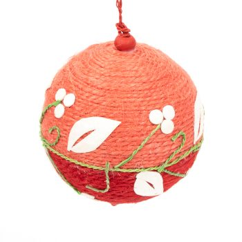 Red floral christmas bauble | TradeAid