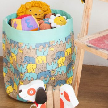 Natural jute toy box with elephant print | TradeAid