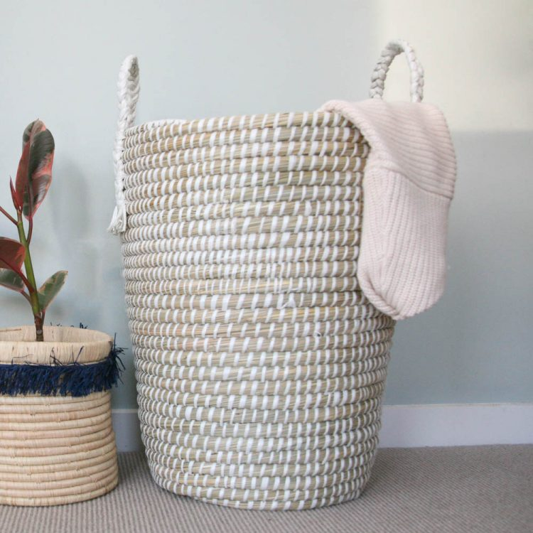 White laundry basket with handles | TradeAid