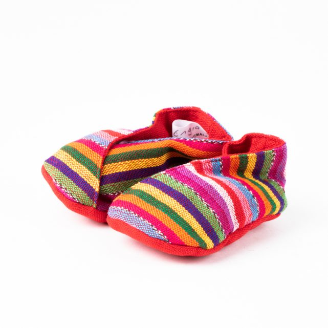 Handwoven striped baby booties | TradeAid