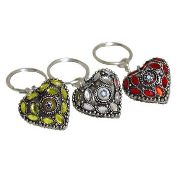 White brass keyring with coloured glass stones | TradeAid