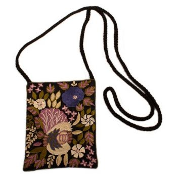 Floral embroidered silk bag | TradeAid
