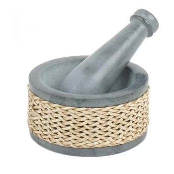 Grey palewa stone pestle & mortar with woven edge | TradeAid