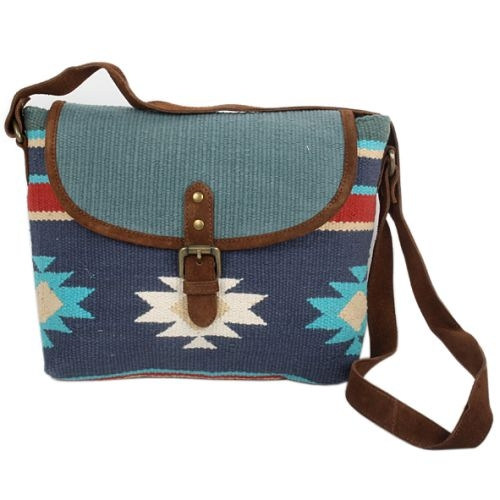 Multicolour cotton durrie bag with leather straps | TradeAid