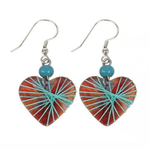 Heart shape earrings with thread detail | TradeAid