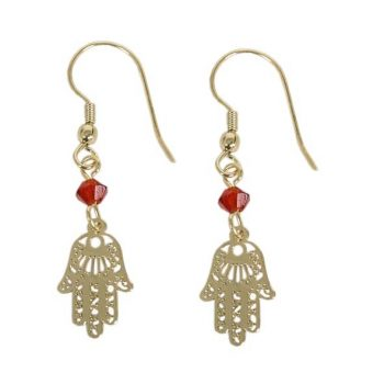 Gold colour brass hamsa charm earrings with bead | TradeAid