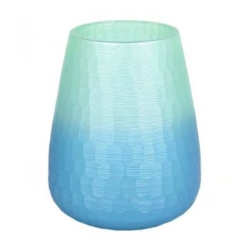Blue & green hammered design vase | TradeAid