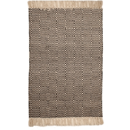 Small black and white rug with diamond design | TradeAid