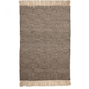 Medium black and white rug with diamond design | TradeAid