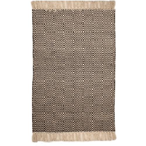 Medium black and white rug with diamond design | TradeAid