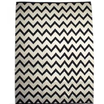 X-large black and white zigzag cotton rug | TradeAid