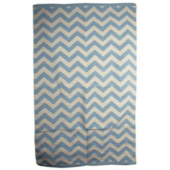 Aqua and white zig zag cotton rug | TradeAid