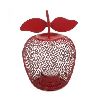 Red painted brass apple candle holder | TradeAid