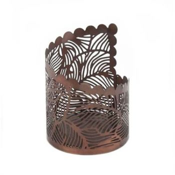 Copper colour iron jali cut candle holder | TradeAid