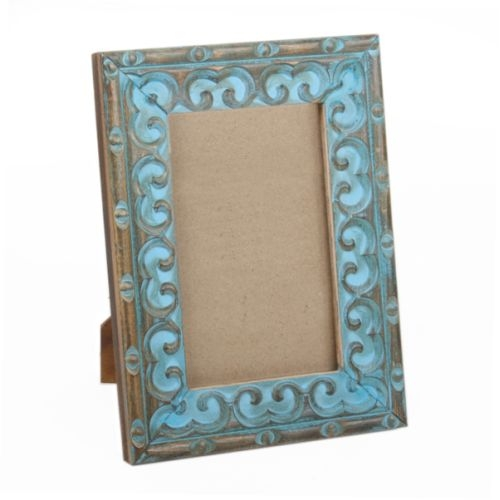 Turquoise painted mangowood photo frame | TradeAid