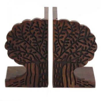 Carved sheesham wood bookends | TradeAid