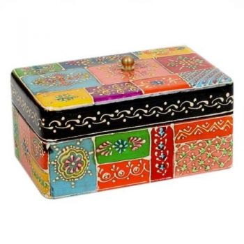 Multicolour painted mangowood box | TradeAid