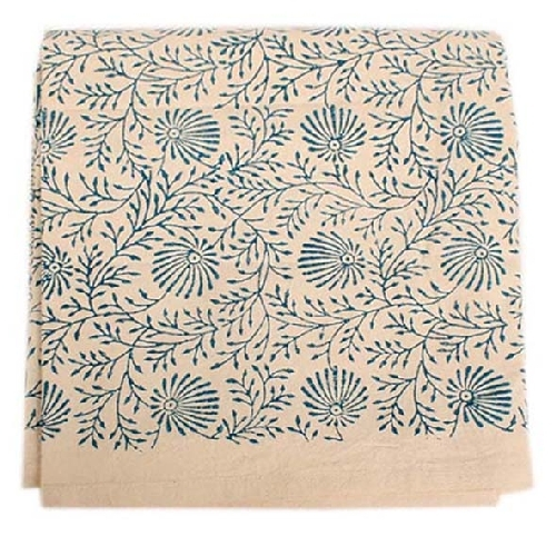 White tablecloth with blue floral print | TradeAid
