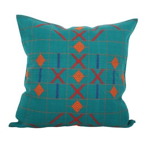 Green cotton gyarah tara cushion cover | TradeAid