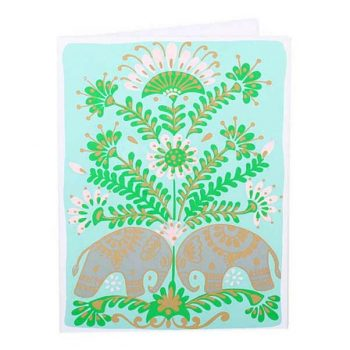 Blue card with elephant and tree | TradeAid