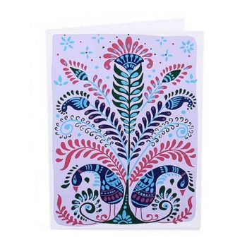 Mauve card with peacock and tree design | TradeAid