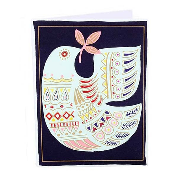 Navy card with white bird design | TradeAid
