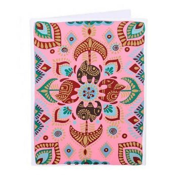 Pink card with elephant design | TradeAid