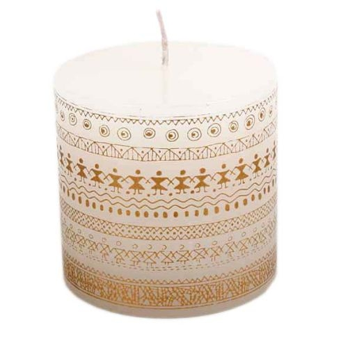 White pillar candle with gold print | TradeAid
