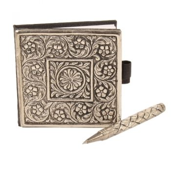 Square notebook with white brass cover | TradeAid