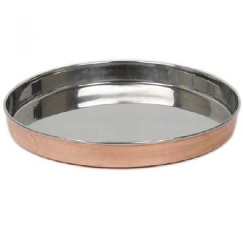 Round copper & stainless steel tray | TradeAid
